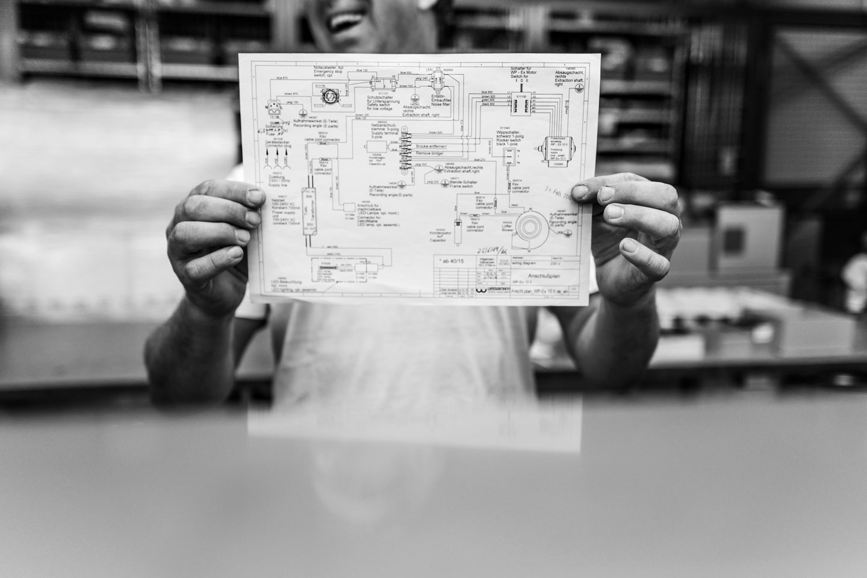 Einblick in die Produktionsstätte / Technische Bauskizze